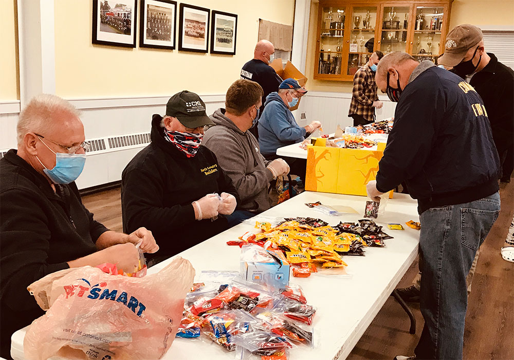 Chatham Fire Department filling Halloween candy bags