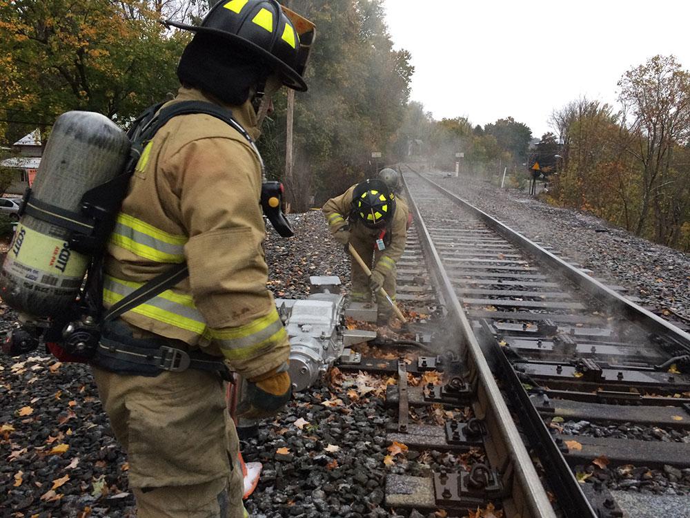 Leaves burning near railroad switch