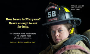 Chatham NY Fire department recruitment campaign featuring Maryann Laspada