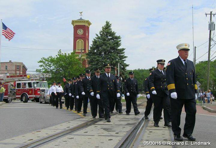 Chatham Fire Department marching in the Memorial Day parade